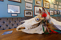 Mari Lwyd by the Gower Wassail & Mari Lwyd Festival at the Queen pub in Swansea, Wales, UK. Saturday 04 January 2019