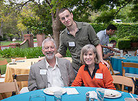 From left, Stan Smith, Colin Smith and Gayle Marrs-Smith. Graduating seniors and their families and friends attend Brunch with President Jonathan Veitch at Collins House, May 16, 2015. (Photo by Marc Campos, Occidental College Photographer)