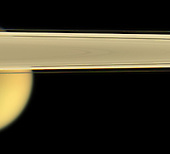 Pasadena, CA - May 30, 2006 -- Saturn's largest moon, Titan, peeks out from under the planet's rings of ice.  This view looks toward Titan (5,150 kilometers, or 3,200 miles across) from slightly beneath the ringplane. The dark Encke gap (325 kilometers, or 200 miles wide) is visible here, as is the narrow F ring.  Images taken using red, green and blue spectral filters were combined to create this natural color view. The images were taken with the Cassini spacecraft narrow-angle camera on April 28, 2006 at a distance of approximately 1.8 million kilometers (1.1 million miles) from Titan. Image scale is 11 kilometers (7 miles) per pixel on Titan..Credit: NASA-JPL-Space Science Institute via CNP