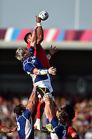 Forwards compete for the ball at a lineout. Rugby World Cup Pool C match between Tonga and Namibia on September 29, 2015 at Sandy Park in Exeter, England. Photo by: Patrick Khachfe / Onside Images