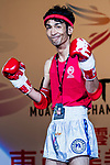 Nitamizu Toshiyuki (Red) of Japan enters to the ring prior the male muay 57KG division weight bout against Zhou Kang (Not in picture) of China during the East Asian Muaythai Championships 2017 at the Queen Elizabeth Stadium on 12 August 2017, in Hong Kong, China. Photo by Yu Chun Christopher Wong / Power Sport Images
