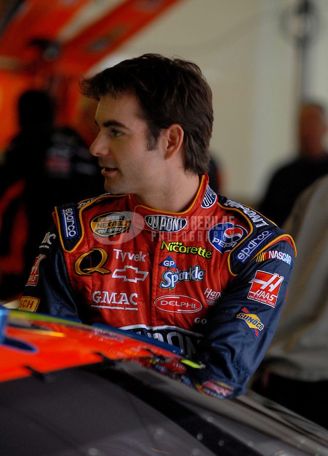 Oct 6, 2006; Talladega, AL, USA; Nascar Nextel Cup driver Jeff Gordon (24) during practice for the UAW Ford 500 at Talladega Superspeedway. Mandatory Credit: Mark J. Rebilas