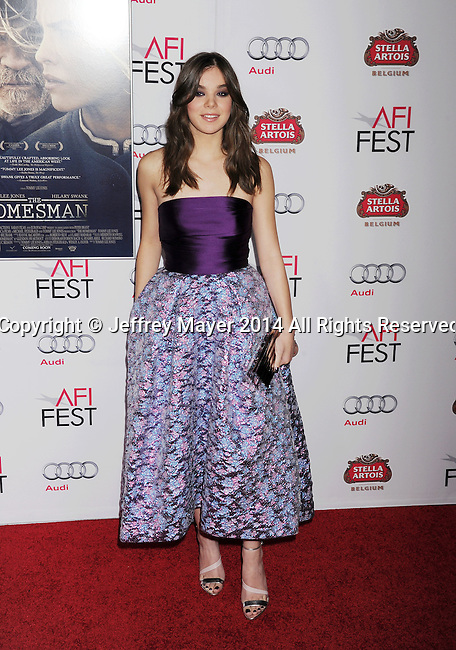HOLLYWOOD, CA - NOVEMBER 11: Actress Hailee Steinfeld attends the 'The Homesman' premiere during AFI FEST 2014 presented by Audi at the Dolby Theater on November 11, 2014 in Hollywood, California.
