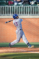 Bre'shon Kimbell (15) of the Louisiana Tech Bulldogs follows through on his swing against the Charlotte 49ers at Hayes Stadium on March 28, 2015 in Charlotte, North Carolina.  The 49ers defeated the Bulldogs 9-5 in game two of a double header.  (Brian Westerholt/Four Seam Images)