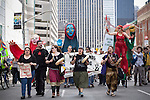 (l-r) Crystal Sinclair from Idle No More Toronto, Mari Reeve from Toronto and the Two Row Society,  Lena VanderPlaats from Shuswap/Dutch First Nation and Carrie Lester of the Six Nations lead the march through downtown. Around 1500 people came out in Toronto today to take part in the Defend our Climate rally. The rally was a part of a national day of action drawing attention to pipelines, tar sands, climate change and other resource extraction that is exacerbating climate change, affecting First Nations and leading Canada towards a Petrostate.