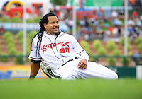 Jun. 23, 2009; Albuquerque, NM, USA; Albuquerque Isotopes outfielder Manny Ramirez prior to the game against the Nashville Sounds at Isotopes Stadium. Ramirez is playing in the minor leagues while suspended for violating major league baseballs drug policy. Mandatory Credit: Mark J. Rebilas-