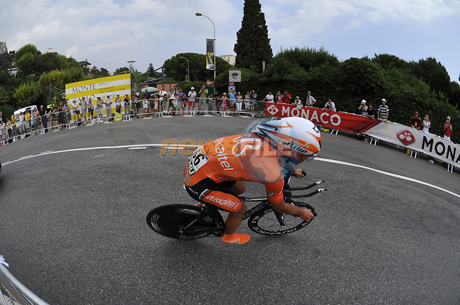 Euskaltel Euskadi team rider Alan Perez Lezaun (ESP) exits the hairpin during the Prologue Stage 1 of the 2009 Tour de France a 15.5km individual time trial held around Monaco. 4th July 2009 (Photo by Eoin Clarke/NEWSFILE)