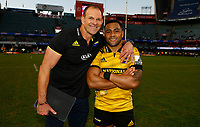John Plumtree (Head Coach) of the Hurricanes with Ngani Laumape of the Hurricanes during the Super Rugby match between Cell C Sharks and Hurricanes at Jonsson Kings Park Stadium in Durban, South Africa on Saturday, 1 June 2019. Photo by Steve Haag / stevehaagsports.com