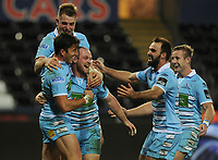 Glasgow Warriors' Nick Grigg celebrates scoring his sides fourth try with team-mates<br /> <br /> Photographer Kevin Barnes/CameraSport<br /> <br /> Guinness Pro14 Round 8 - Ospreys v Glasgow Warriors - Friday 2nd November 2018 - Liberty Stadium - Swansea<br /> <br /> World Copyright &copy; 2018 CameraSport. All rights reserved. 43 Linden Ave. Countesthorpe. Leicester. England. LE8 5PG - Tel: +44 (0) 116 277 4147 - admin@camerasport.com - www.camerasport.com