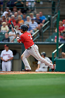 Pawtucket Red Sox Juan Centeno (2) at bat during an International League game against the Rochester Red Wings on June 28, 2019 at Frontier Field in Rochester, New York.  Pawtucket defeated Rochester 8-5.  (Mike Janes/Four Seam Images)