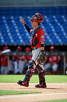 Washington Nationals catcher Tres Barrera (26) signals to the defense during a Florida Instructional League game against the Miami Marlins on September 26, 2018 at the Marlins Park in Miami, Florida.  (Mike Janes/Four Seam Images)