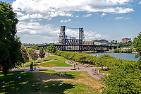 A beautiful summer day on the Willamette River waterfront park in Portland, Oregon.
