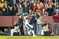 Landover, MD - December 30, 2018: Philadelphia Eagles wide receiver Nelson Agholor (13) celebrates after scoring a touchdown during the  game between Philadelphia Eagles and Washington Redskins at FedEx Field in Landover, MD.   (Photo by Elliott Brown/Media Images International)