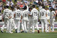 1st December 2019, Hamilton, New Zealand;  Jeet Raval runs Rory Burns out for 101. International test match cricket, New Zealand versus England at Seddon Park, Hamilton, New Zealand. Sunday 1 December 2019.