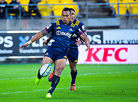 Highlanders' Tevita Li clears during the Super Rugby match between the Hurricanes and Highlanders at Westpac Stadium in Wellington, New Zealand on Friday, 1 March 2019. Photo: Dave Lintott / lintottphoto.co.nz