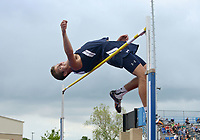 NWA Democrat-Gazette/BEN GOFF @NWABENGOFF<br /> Seth Stanley of Rogers Heritage makes an attempt at 6 feet, 2 inches during the boys high jump Thursday, April 20, 2017, during the McDonald Relays at Fort Smith Southside. Stanley placed seventh with a best jump of six feet.