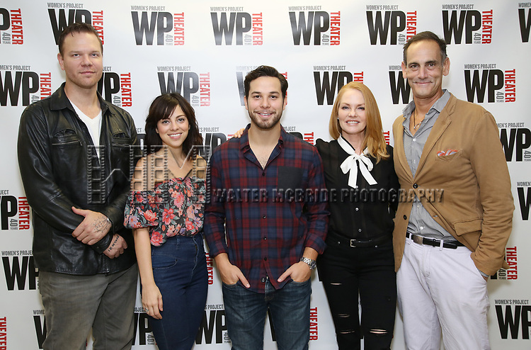 Jim Parrack, Krysta Rodriguez, Skylar Astin, Marg Helgenberger, and Damian Young attend the WP Theater production of 'What We're Up Against' Photo Calll at WP Theater Office on October 5, 2017 in New York City.