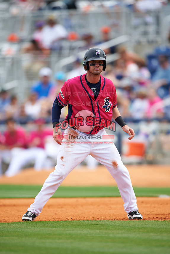 Pensacola Blue Wahoos outfielder Jesse Winker (23) leads off first during the first game of a double header against the Biloxi Shuckers on April 26, 2015 at Pensacola Bayfront Stadium in Pensacola, Florida.  Biloxi defeated Pensacola 2-1.  (Mike Janes/Four Seam Images)