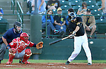 SIOUX FALLS, SD - JUNE 5 - Shelby Ford #3 from the Sioux Falls Canaries drives the ball for a base hit against Winnipeg in the third inning Thursday night at the Sioux Falls Stadium. (Photo by Dave Eggen/Inertia)