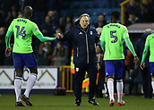9th February 2018, The Den, London, England; EFL Championship football, Millwall versus Cardiff City; Cardiff City manager Neil Warnock shaking hands with Sol Bamba of Cardiff City after the final whistle and shouting at Referee Keith Stroud for disallowing Sol Bamba of Cardiff City winning goal in the 2nd half
