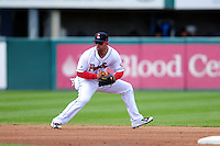 Pawtucket Red Sox shortstop Deven Marrero (12) during a game versus the Syracuse Chiefs at McCoy Stadium in Pawtucket, Rhode Island on April 30, 2015.  (Ken Babbitt/Four Seam Images)