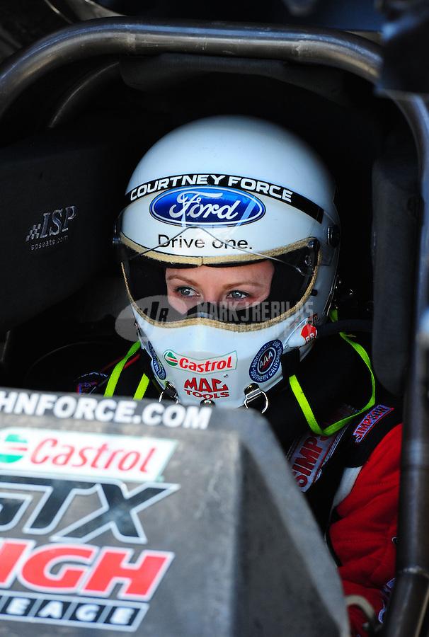 Apr. 4, 2011; Las Vegas, NV, USA: NHRA funny car driver Courtney Force during testing at The Strip in Las Vegas. Mandatory Credit: Mark J. Rebilas-
