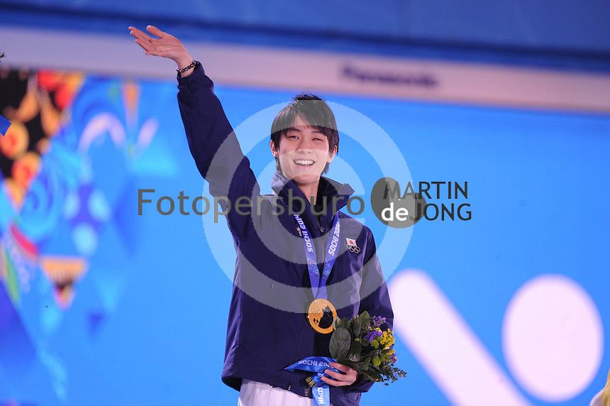 OLYMPICS: SOCHI: Medal Plaza, 15-02-2014, Figure Skating, Men's Free Skating, Yuzuru Hanyu (JPN), ©photo Martin de Jong