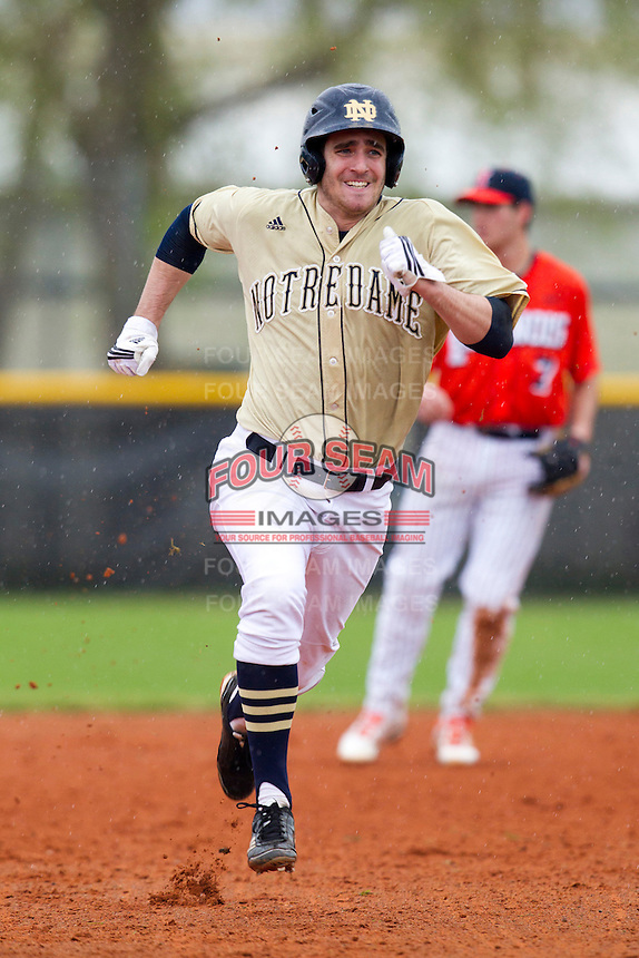 Notre Dame Fighting Irish outfielder Charlie Markson #20 running the bases during a game against the Illinois Fighting Illini at the Big Ten/Big East Challenge at Walter Fuller Complex on February 17, 2012 in St. Petersburg, Florida.  (Mike Janes/Four Seam Images)