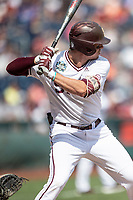 Mississippi State Bulldogs shortstop Jordan Westburg (11) at bat during Game 8 of the NCAA College World Series against the Auburn Tigers on June 16, 2019 at TD Ameritrade Park in Omaha, Nebraska. Mississippi State defeated Auburn 5-4 6-3. (Andrew Woolley/Four Seam Images)