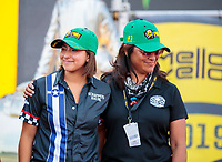 Sep 29, 2019; Madison, IL, USA; NHRA pro stock motorcycle rider Jianna Salinas (left) with mother Monica Salinas during the Midwest Nationals at World Wide Technology Raceway. Mandatory Credit: Mark J. Rebilas-USA TODAY Sports