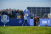 Brooks Koepka (Team USA) watches his tee shot on 10 during Saturday's foursomes of the 2018 Ryder Cup, Le Golf National, Guyancourt, France. 9/29/2018.<br /> Picture: Golffile | Ken Murray<br /> <br /> <br /> All photo usage must carry mandatory copyright credit (&copy; Golffile | Ken Murray)