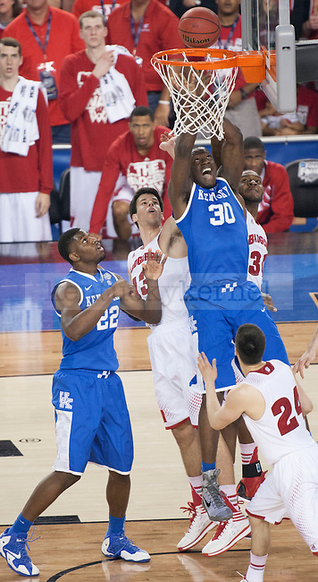 Kentucky Wildcats forward Julius Randle (30) dunks the ball during the NCAA Final Four vs. Wisconsin at the AT&T in Arlington, Tx., on Saturday, April 5, 2014. Photo by Eleanor Hasken | Staff