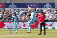 Mark Wood (England) in action during England vs New Zealand, ICC World Cup Cricket at The Riverside Ground on 3rd July 2019
