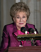 Former United States Senator Elizabeth Dole (Republican of North Carolina) makes remarks at a Congressional Gold Medal ceremony in honor of her husband, former US Senator Bob Dole (Republican of Kansas) that is also attended by US President Donald J. Trump in the Rotunda of the US Capitol on Wednesday, January 17, 2017.  Congress commissioned gold medals as its highest expression of national appreciation for distinguished achievements and contributions.  Dole served in Congress from 1961 through 1996, was the Senate GOP leader from 1985 through 1996, and was the 1996 Republican Party nominee for President of the United States.<br /> Credit: Ron Sachs / CNP