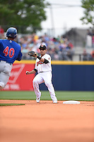 ***Temporary Unedited Reference File***Nashville Sounds shortstop Josh Rodriguez (12) during a game against the Iowa Cubs on May 4, 2016 at First Tennessee Park in Nashville, Tennessee.  Iowa defeated Nashville 8-4.  (Mike Janes/Four Seam Images)