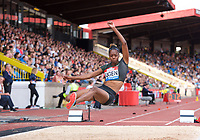 Lorraine Ugen of Great Britain competing in the long jump during the Muller Grand Prix  IAAF Diamond League meeting at Alexander Stadium, Perry Barr, Birmingham.<br /> Picture by Alan Stanford +44 7915 056117<br /> 18/08/2018
