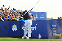 Tiger Woods (Team USA) on the 9th tee during Friday Fourball at the Ryder Cup, Le Golf National, Iles-de-France, France. 28/09/2018.<br /> Picture Thos Caffrey / Golffile.ie<br /> <br /> All photo usage must carry mandatory copyright credit (© Golffile | Thos Caffrey)
