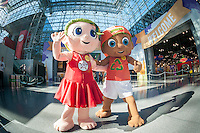 Sandy Dollar and Finley characters from the SeaBabies line of environmental products a the 114th North American International Toy Fair in the Jacob Javits Convention center in New York on Sunday, February 19, 2017.  The company is a family business and is committed to teaching children the importance of caring for the planet and also supports 1% For the Planet. (© Richard B. Levine)