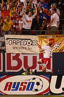 New York Red Bulls midfielder (13) Clint Mathis celebrates scoring during an MLS regular season match against the Los Angeles Galaxy at Giants Stadium, East Rutherford, NJ, on August 18, 2007. The Red Bulls defeated the Galaxy 5-4.