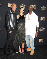 Actors Vin Diesel, Jordana Brewster &amp; Tyrese Gibson at the 2017 MTV Movie &amp; TV Awards at the Shrine Auditorium, Los Angeles, USA 07 May  2017<br /> Picture: Paul Smith/Featureflash/SilverHub 0208 004 5359 sales@silverhubmedia.com