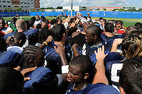 24 August 2008:  The team gathers together at the end of practice drills at the FIU practice field in Miami, Florida.