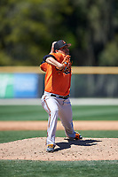 Baltimore Orioles pitcher Willie Rios (73) delivers a pitch during a minor league Spring Training game against the Minnesota Twins on March 17, 2017 at the Buck O'Neil Baseball Complex in Sarasota, Florida.  (Mike Janes/Four Seam Images)