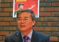 Ambassador to UK His Excellency Mr. Hyon Hak Bong of the Democratic People's Republic of Korea in Southall attending at Saklatvala Hall a CPGBML Commemoration which celebrated the centenary of  Kim Il-sung's birth, Easter Sunday 2012 Southall