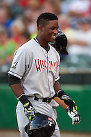 Wisconsin Timber Rattlers outfielder Luis Aviles (3) walks to the dugout smiling after hitting a home run during a game against the Peoria Chiefs on August 21, 2015 at Dozer Park in Peoria, Illinois.  Wisconsin defeated Peoria 2-1.  (Mike Janes/Four Seam Images)