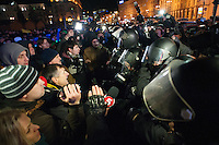 """Journalists facing the figters of the  special force """"Berkut""""  on the European square in Kiev. Ukraine"""