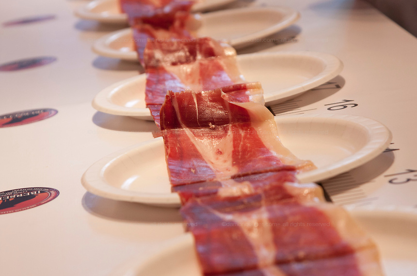 Iberico ham laid out on  display after Nico Jimenez from Spain, breaks the world record for the longest slice of meat with an Iberico Ham from sposor, Iberselec, that he sliced to a length of 13 metres, 35 centimetres. This broke his own world record, set in 2008, by three centimetres. Hattori school of nutrition, Yoyogi, Tokyo, Japan. September 23rd 2010