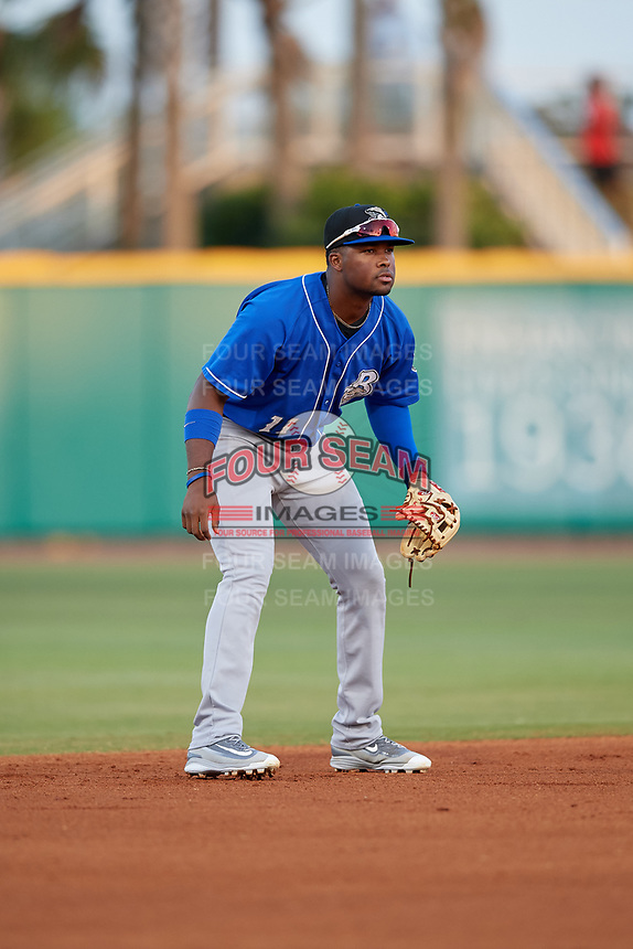 Biloxi Shuckers shortstop Luis Aviles Jr. (11) during a Southern League game against the Pensacola Blue Wahoos on May 3, 2019 at Admiral Fetterman Field in Pensacola, Florida.  Pensacola defeated Biloxi 10-8.  (Mike Janes/Four Seam Images)