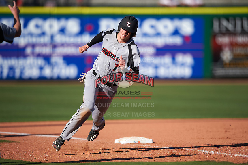 Louisville Cardinals second baseman Devin Mann (7) running the bases during a game against the Ball State Cardinals on February 19, 2017 at Spectrum Field in Clearwater, Florida.  Louisville defeated Ball State 10-4.  (Mike Janes/Four Seam Images)
