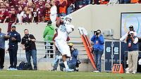 BLACKSBURG, VA - OCTOBER 19: Dazz Newsome #5 of the University of North Carolina catches a touchdown pass during a game between North Carolina and Virginia Tech at Lane Stadium on October 19, 2019 in Blacksburg, Virginia.