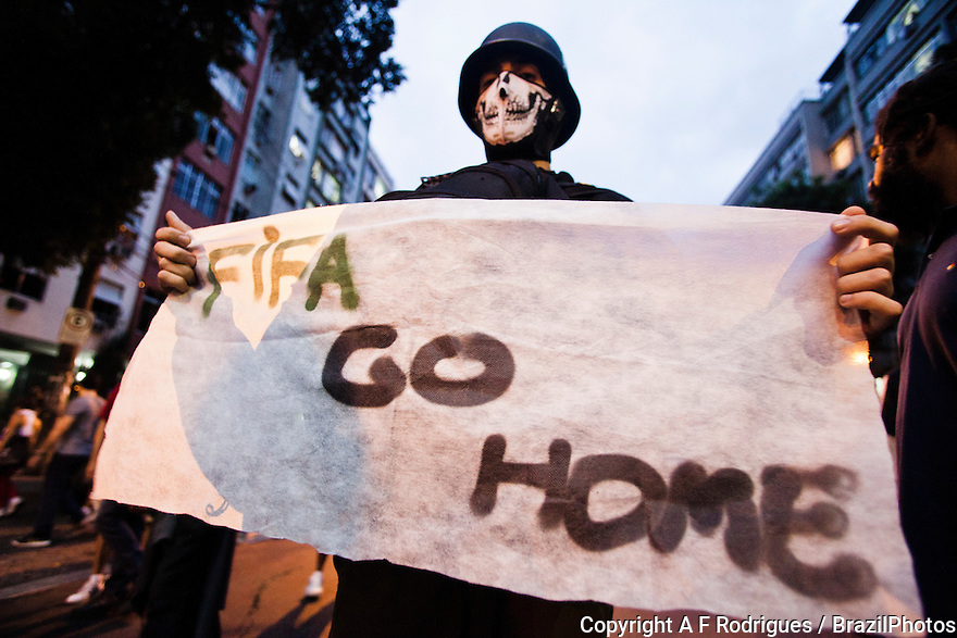 FIFA go home - Demonstration in Rio de Janeiro against realization of 2014 Soccer Wold Cup in Brazil, June, 30th, 2013 near Maracana stadium during game of the FIFA Confederations Cup.